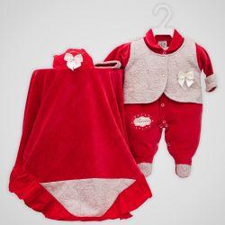 Saída Maternidade Plush Vermelho Princesa