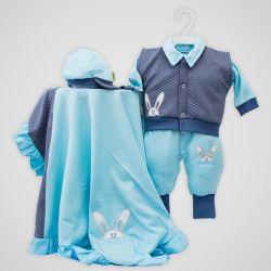 Saída Maternidade Suedine Coelho no Bolso Azul