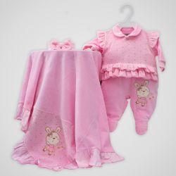 Saída Maternidade Plush Coelha Fofa Rosa