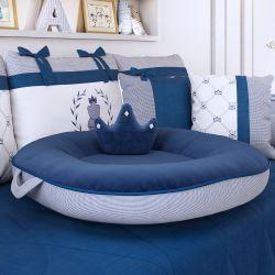 Almofada Ninho Xadrez Vichy Azul Marinho 75cm
