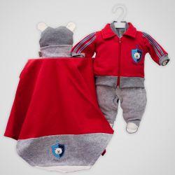 Saída Maternidade Plush Brasão Urso Vermelho