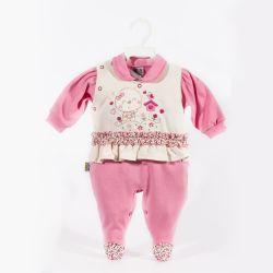 Macacão Longo Suedine Meu Lindo Passarinho Pink