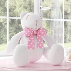 Ursinha Branca com Laço Poá Rosa 34cm