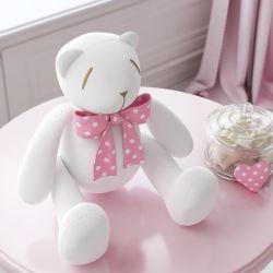 Ursinha Branca com Laço Poá Rosa 25cm