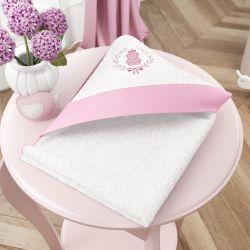 Toalha com Capuz Ursinha Clássica Rosa