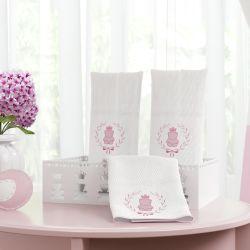 Jogo de Fraldas de Boca Ursinha Clássica Rosa