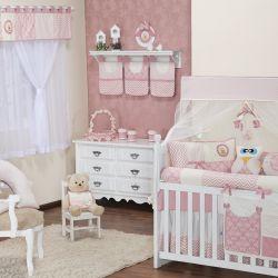 Quarto de Bebê Chevron Passarinho Rosé