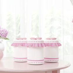 Jogo de Potes Ursinha Clássica Rosa