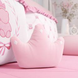 Almofada Coroa Ursinha Clássica Rosa 22cm