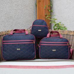Conjunto de Bolsas Maternidade Jeans Marsala