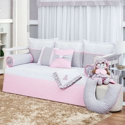Kit Cama Babá Rosa Chevron