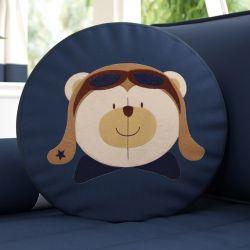 Almofada Redonda Urso Aviador 38cm