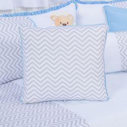 Almofada Quadrada Chevron Urso Anjinho Azul