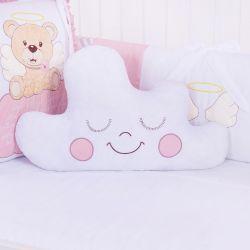 Almofada Nuvem Urso Anjinho Rosé 46cm
