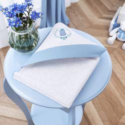 Toalha com Capuz Ursinho Clássico Azul Bebê