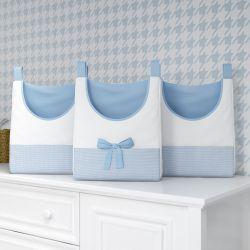 Porta Fraldas Varão Ursinho Clássico Azul Bebê