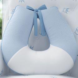 Almofada Amamentação Xadrez Vichy Azul Bebê