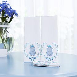 Jogo de Fraldas de Boca Malha Ursinho Clássico Azul Bebê