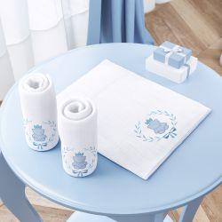 Jogo de Fraldas Ombro Ursinho Clássico Azul Bebê com 3