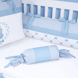 Almofada Apoio Bala Ursinho Clássico Azul Bebê