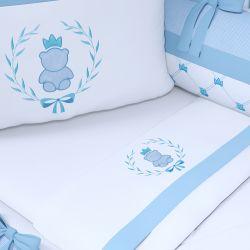 Jogo de Lençol Ursinho Clássico Azul Bebê