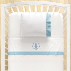 Jogo Lençol de Berço Bordado Ursinho Clássico Azul Bebê 3 peças