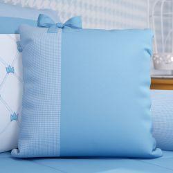 Almofada Laço Ursinho Clássico Azul Bebê 38cm