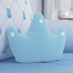 Almofada Coroa Ursinho Clássico Azul Bebê 22cm