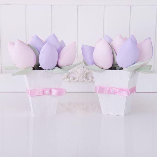 Enfeites Cachepôs com Tulipa Rosa e Lilás