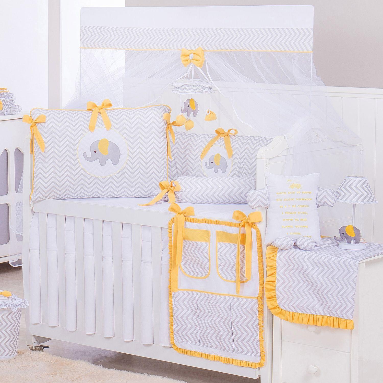 ad025441a Kit Berço Elefante Chevron Amarelo