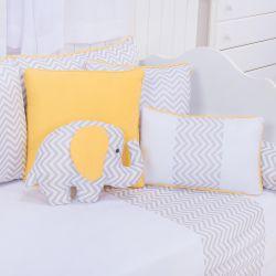 Almofadas Elefante Chevron Amarelo 4 Peças