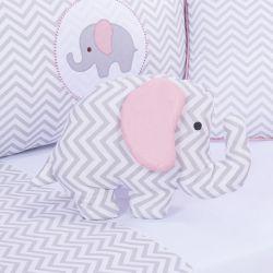 Almofada Decorativa Elefante Chevron Rosé 40cm