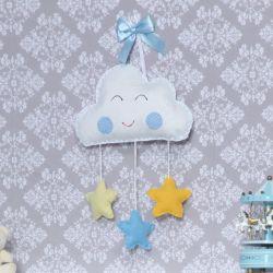 Porta Maternidade Nuvem Estrela Azul