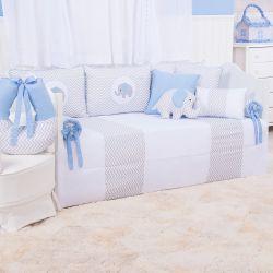 Kit Cama Babá Elefante Chevron Azul