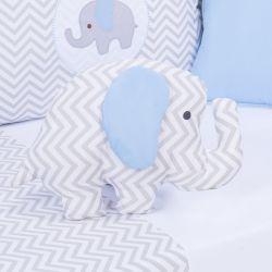 Almofada Decorativa Elefante Chevron Azul