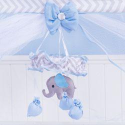 Móbile Elefante Chevron Azul