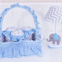 Kit Acessórios Elefante Chevron Azul