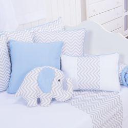 Almofadas Elefante Chevron Azul 4 Peças