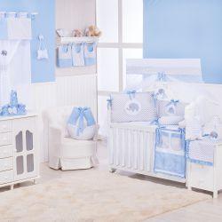 Quarto de Bebê Elefante Chevron Azul