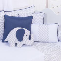 Almofada Decorativa Elefante Chevron Azul Marinho