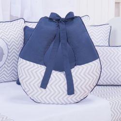 Almofada Amamentação Elefante Chevron Azul Marinho