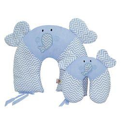 Almofadas Amamentação e Pescoço Para Bebê Elefante Azul 2 Peças