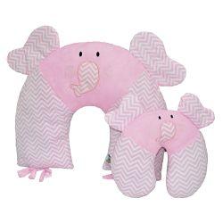 Almofadas Amamentação e Pescoço Para Bebê Elefante Rosa 2 Peças