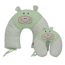 Almofadas Amamentação e Pescoço Para Bebê Hipopótamo Verde 2 Peças
