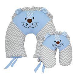 Almofadas Amamentação e Pescoço Para Bebê Leão Azul 2 Peças