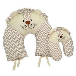 Almofadas Amamentação e Pescoço Para Bebê Leão Bege 2 peças