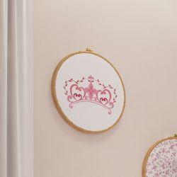 Quadro Bastidor Bordado Coroa Minha Princesinha