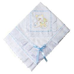 Manta Piquet Bordado Urso com Cavalinho Azul