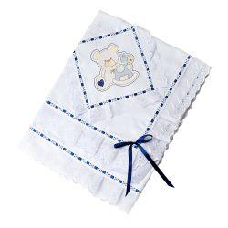 Manta Piquet Bordado Urso com Cavalinho Azul Marinho