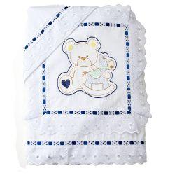 Jogo de Lençol Bordado Urso com Cavalinho Azul Marinho